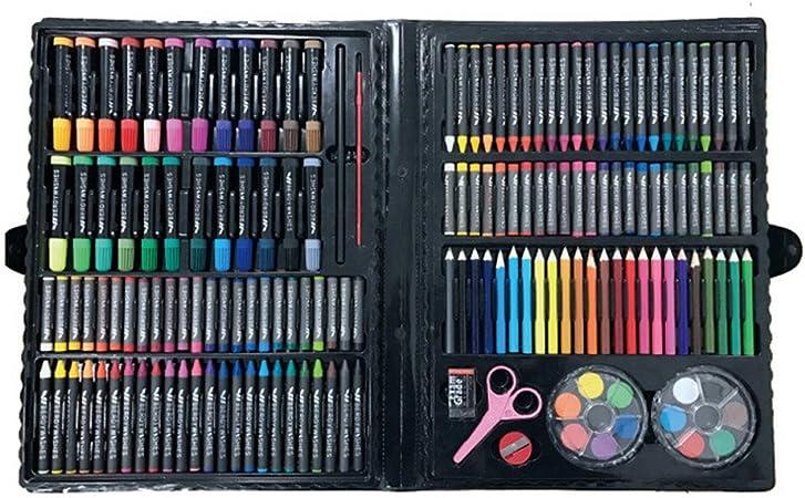 Zoueroih Estuche Colores Pluma de la Acuarela Conjunto de Escritorio Caja de Regalo de Pintura Conjunto de 168 Regalo de cumpleaños Pintura Papel Set (Color : Black): Amazon.es: Hogar