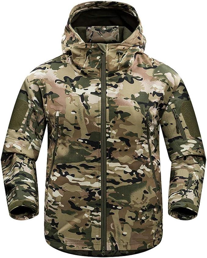 MINIKIMI Felpa Mimetica Uomo Tattico Camouflage Softshell Giacca Outdoor Militare Pile Fodera Impermeabile Antivento Giubbotto con Cappuccio Alpinista Viaggio