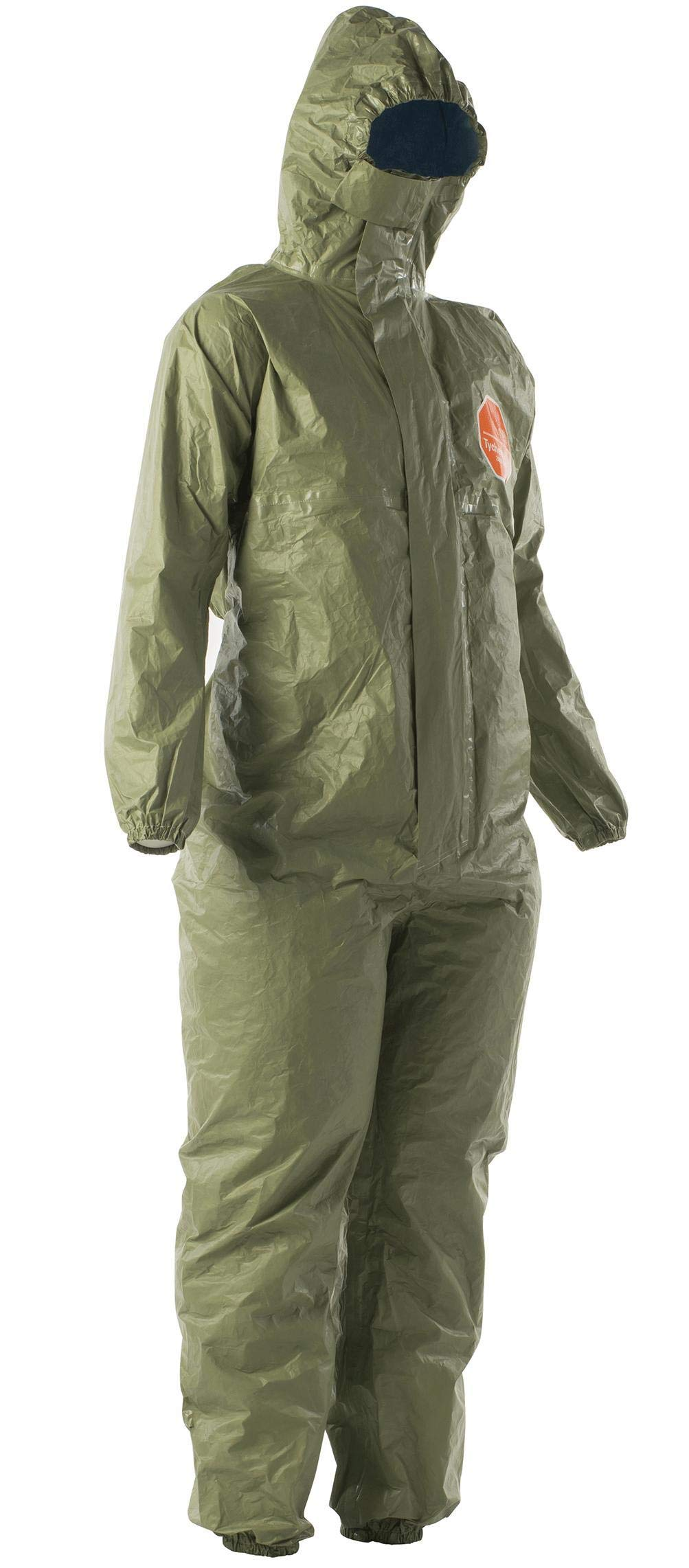 DuPont Tychem 2000 SFR Coverall with Attached Hood, Front Zipper Closure, Taped Seams and Storm Flap, Green, 2X-Large (Pack of 4) by DuPont (Image #1)