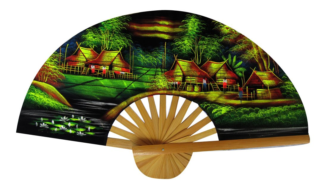 RaanPahMuang Thai Hand Painted Village River Waterful Scene Wall Fan 18 inch size