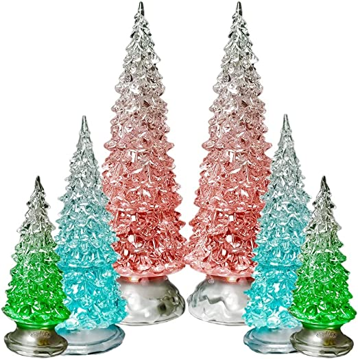 LED Lighted Snowy Christmas Tree Lot Tabletop Christmas Village Accessories Holiday Decorations EDS Tree Lot