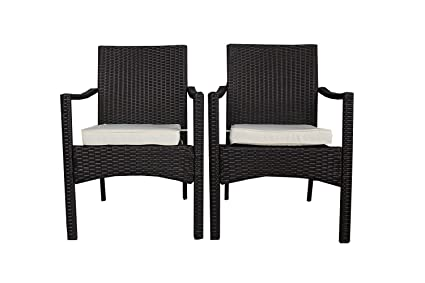 High Quality JETIME Patio Rattan 3PCS Conversation Chairs And Table Set Outdoor Wicker  Furniture Garden Indoor Brown