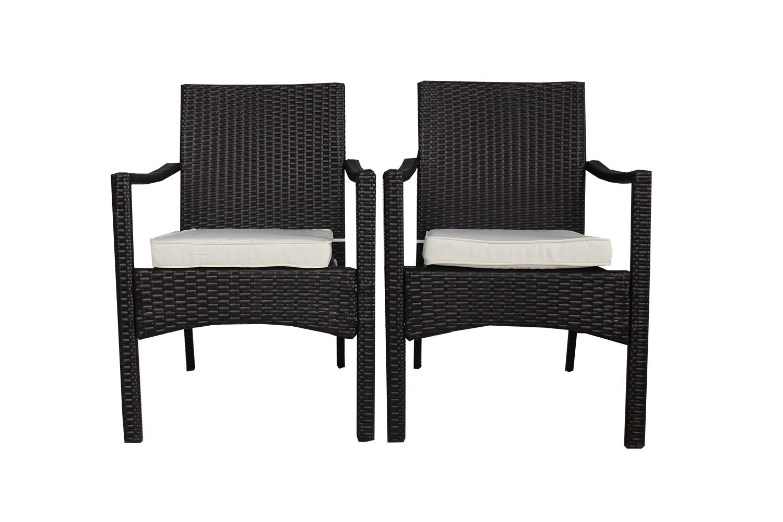 Patio Black Woven Rattan 2Pcs Couch Conversation Chairs Outdoor Wicker Furniture Garden Indoor Bistro Set (2pcs)