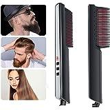 BIKUUL Hair Straightener Brush,Beard Straightener Comb,Ceramic Heating,6 Temperature Control,Anti-Scald,Frizz-Free,30s Fast Heat Up, Auto Off, Portable Hair Straightening Comb,For Men & Women