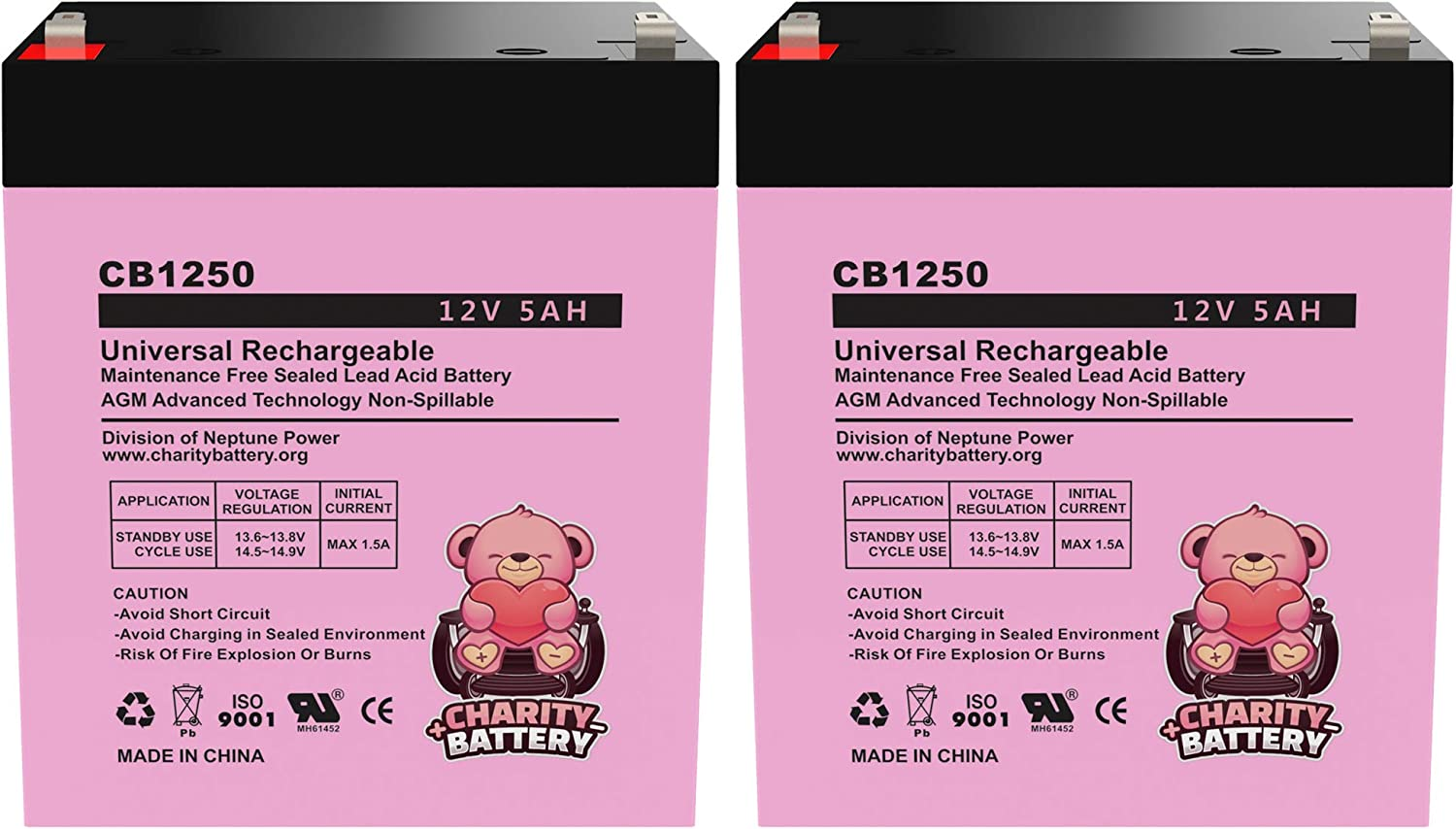 2 Pack Pulse Lightning 12v 5Ah Replacement Electric Scooter SLA CB1250 by Charity Battery