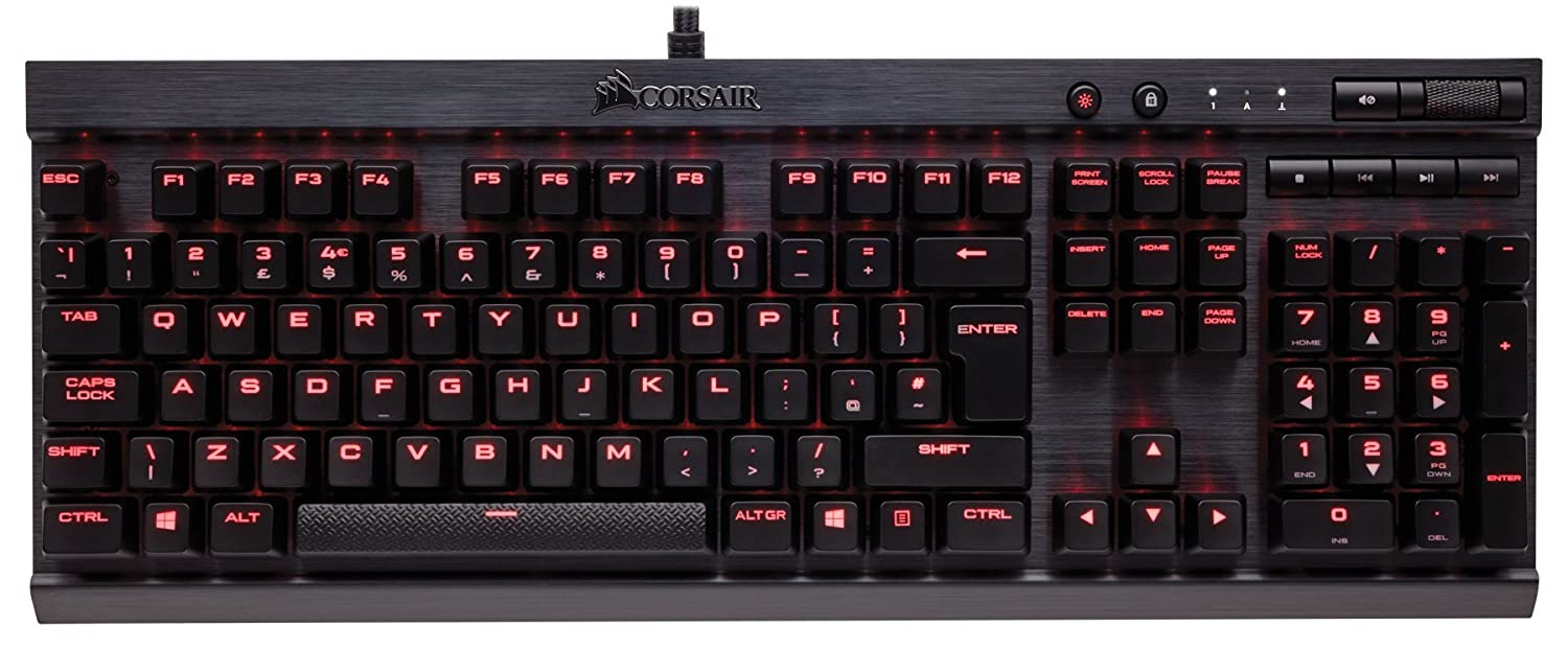 Corsair K70 LUX Red LED Mechanical Gaming Keyboard Cherry MX Blue Switches: Tactile and Clicky, Red LED Backlighting, Aluminium Chassis, QWERTY UK Layout Black