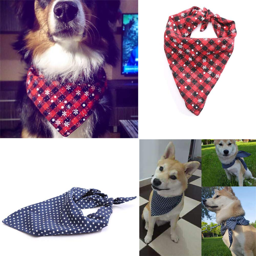 Amazon.com : Dog Bandana Triangle Bibs Scarf, Snowflakes Print British Style Plaid Printing Kerchief Puppy Checked Neckerchief : Pet Supplies