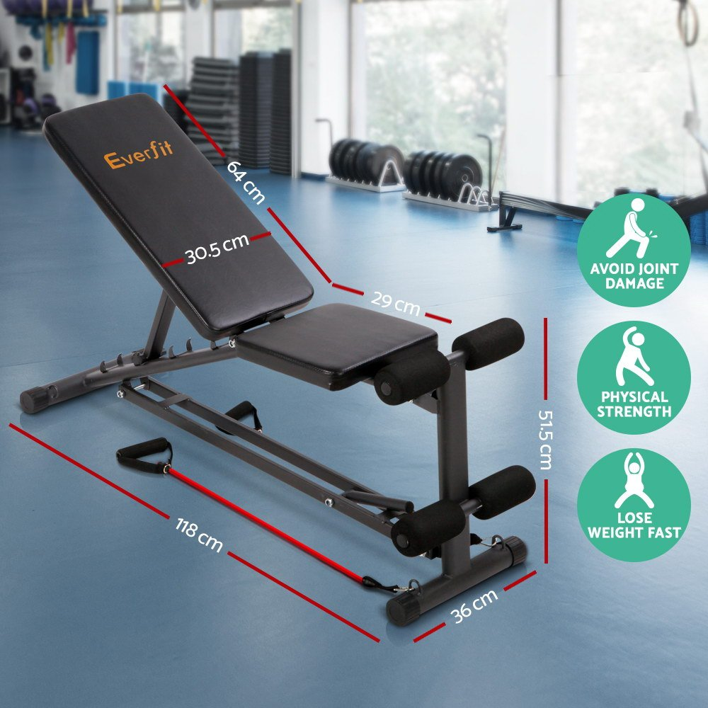 Everfit Adjustable Weight FID Bench 150KG Weight Capacity Home Gym ...