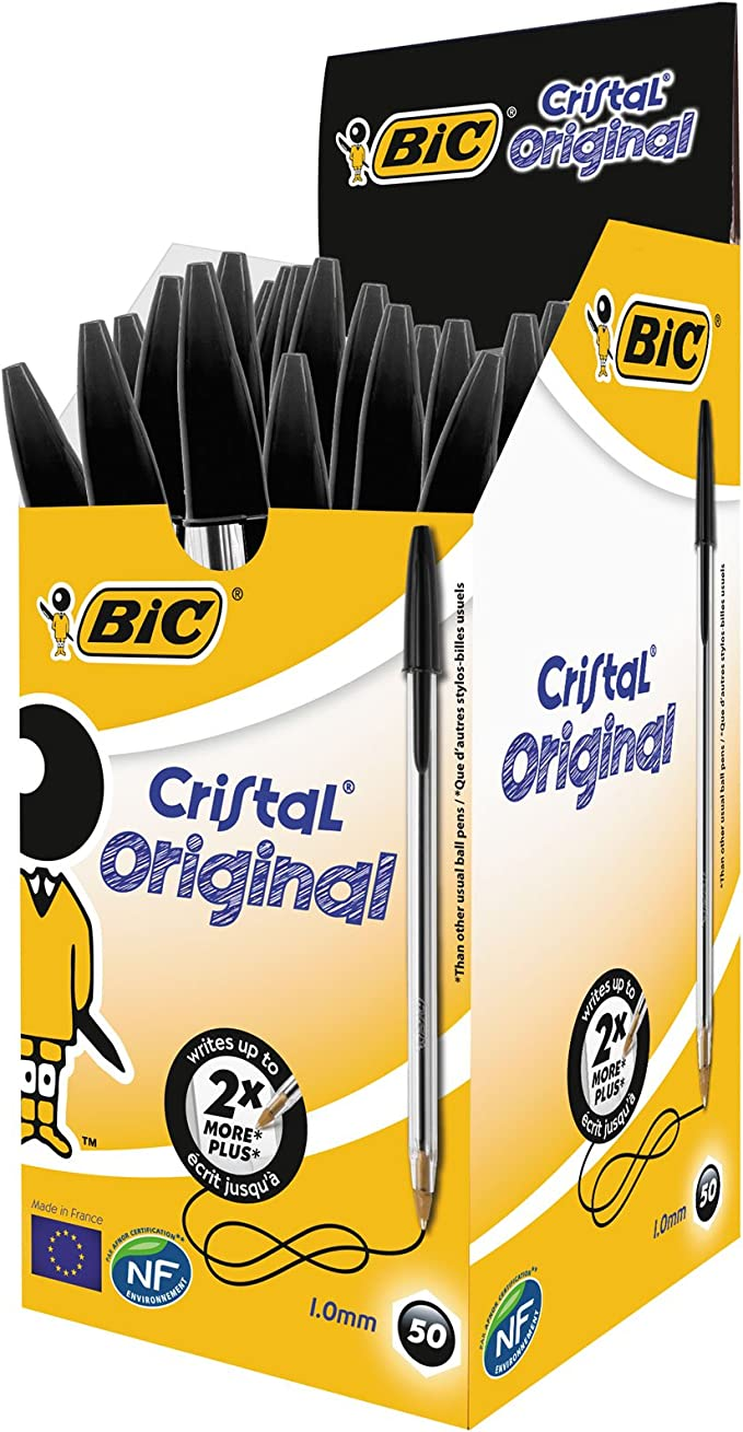 BIC CRISTAL CLASSIC BALL POINT BLACK COLOR PEN PACK OF 4 PENS