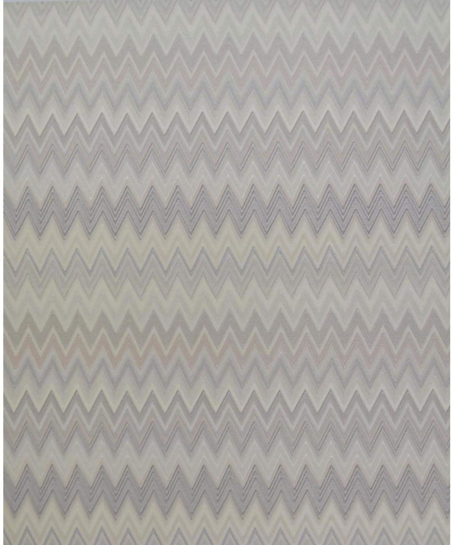 York Wallcoverings MI10060 Missoni Home Zig Zag Multicolore Wallpaper - Cream/Silver/Warm Grey
