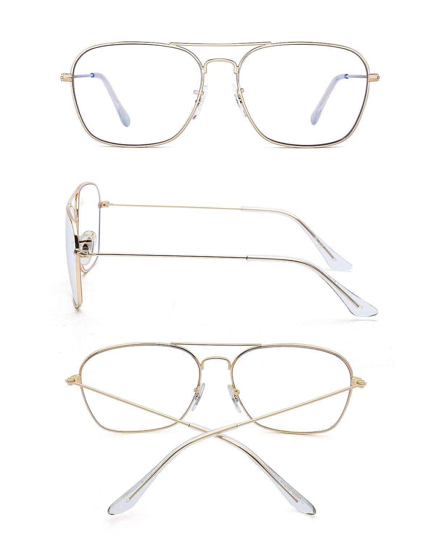 325fca8496b3 Blue Light Blocking Computer Glasses, Square Eye Protect Video Eyeglasses  Anti Glare Men Women (Gold Frame Clear Temple Tips): Amazon.co.uk: Clothing