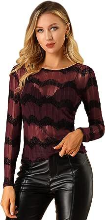Allegra K Blusa De Punto De Encaje Cuello Redondo Manga Larga Camisa Transparente De Malla De Chevron para Mujer