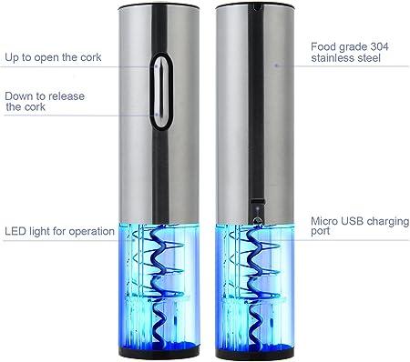 Winey - Sacacorchos recargable , tamaño pequeño, abridor de botellas portátil, sacacorchos eléctrico de acero inoxidable con puerto de carga USB, cortador de cápsulas, tapón de vacío y vertedor