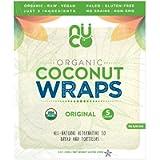 NUCO Certified Organic Paleo Gluten Free Vegan Coconut Wraps, Original, 5 Wraps Per Pack, 70 Grams, 5 Count