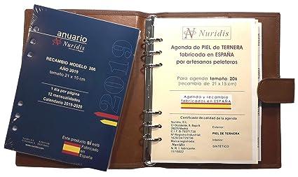 Agenda española de Piel de ternera Premium, con recambio del ...