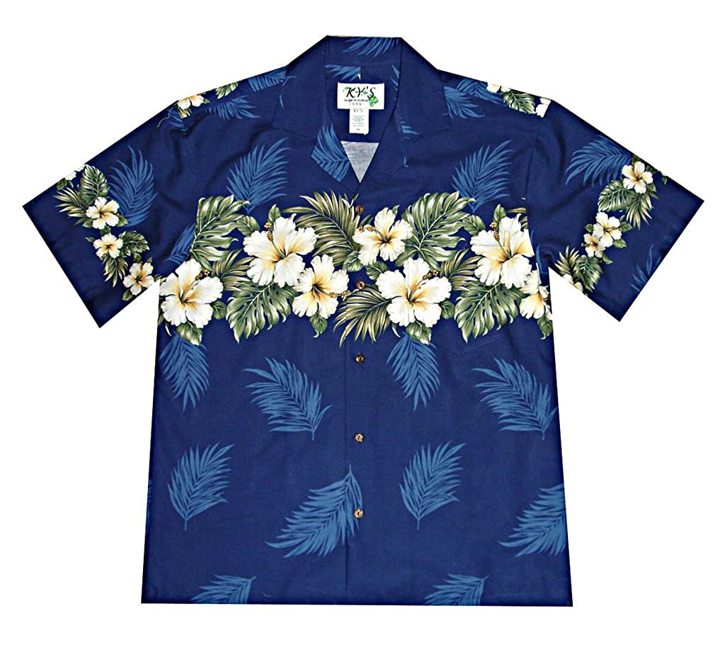 KY Mens Breezy Hibiscus Cotton Hawaiian Shirt