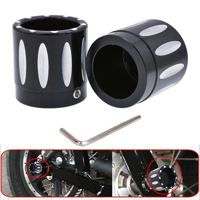 KaTur Negro CNC Deep Edge Contraste Corte Tapa Tuerca del Eje Delantero para Harley Dyna V-Rod Touring Sportster XL883 XL1200 - Set: Amazon.es: Coche y moto