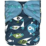 EcoAble Baby Charcoal Bamboo All-In-One AIO Cloth Diaper w/ Pocket, Size 10-35Lb (Fish)