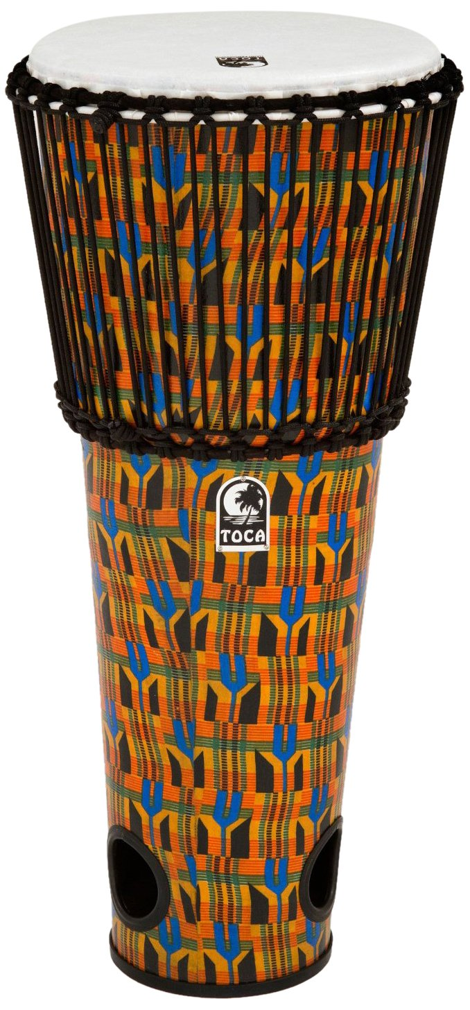 Toca TFA-12RK Rope Tuned 12-Inch Ashiko Drum - Kente Cloth by Toca