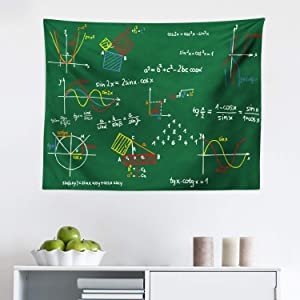 Lunarable Mathematics Classroom Tapestry, Green Blackboard with Colored Formula and Sketches Geometry School, Fabric Wall Hanging Decor for Bedroom Living Room Dorm, 28