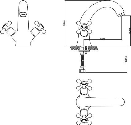 blanc et or Robinet de lavabo complet tout en cuivre M/élangeur eau chaude et froide Lavabo Lavabo en bronze noir Robinet de lavabo r/étro pour salle de bain Mitigeur avec a/érateur Monocommande