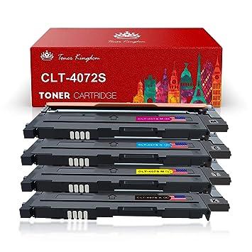 Toner Kingdom 4 Paquete Compatible Cartucho de tóner Para Samsung CLT-K4072S CLP-320 CLP-320N CLP-320W CLP-320N CLP-325 CLP-325N CLP-325W CLX-3180 ...
