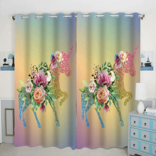 QH Beautiful Unicorn Window Curtain Panels Blackout Curtain Panels Thermal Insulated Light Blocking 42W x 84L inch Set of 2 Panel