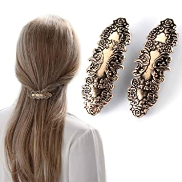 Amazon Com Kakaco Vintage Metal Hair Clips Retro Hair Barrettes French Bobby Hair Pin Fashion Hair Accessories For Women And Girls Pack Of 2 Gold Beauty