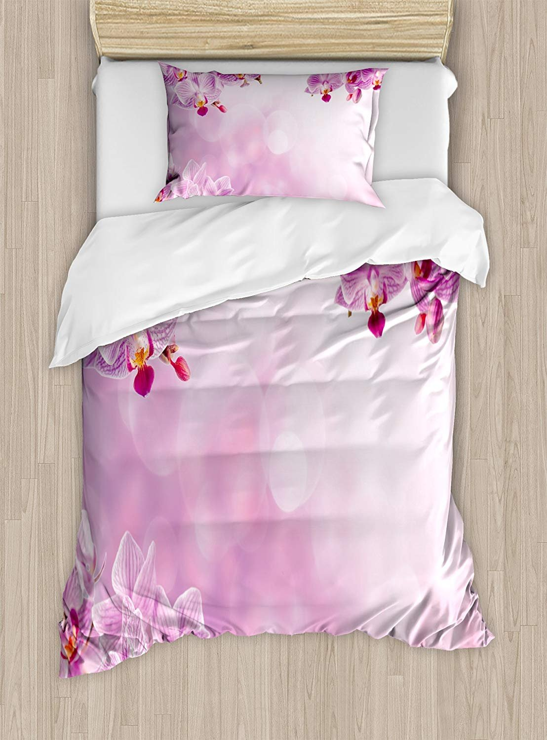 Twin XL Extra Long Bedding Set,Spa Duvet Cover Set,Orchid Petals in Monochrome Design Bouquet Spring Bloom Seedling Growth Peaceful Nature Print,Include 1 Flat Sheet 1 Duvet Cover and 2 Pillow Cases
