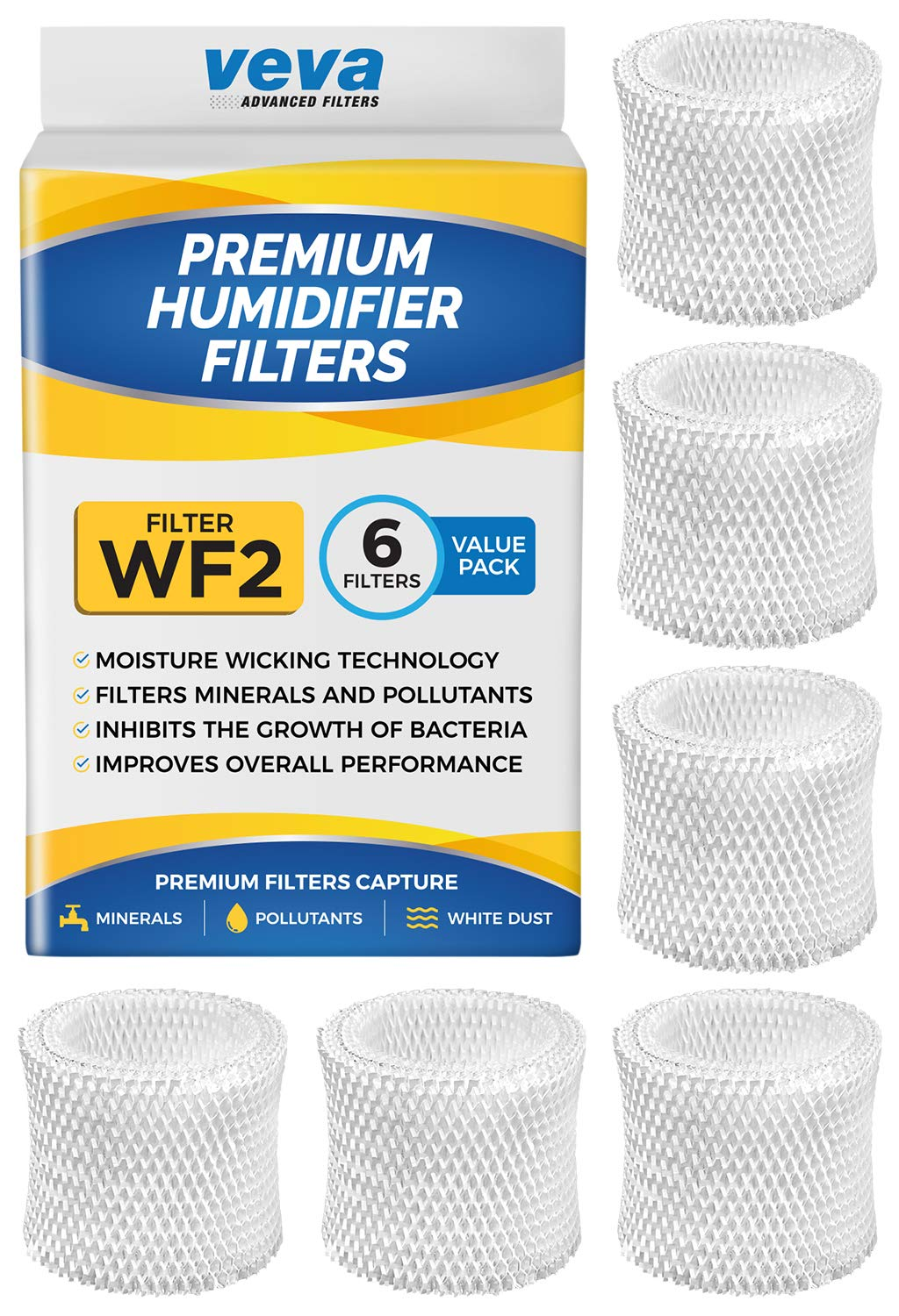 VEVA 6 Pack Premium Humidifier Filters Replacement for Protec, Vicks, Kaz Filter WF2 and V3500, V3100 & 3020 Cool Mist Humidifiers by VEVA