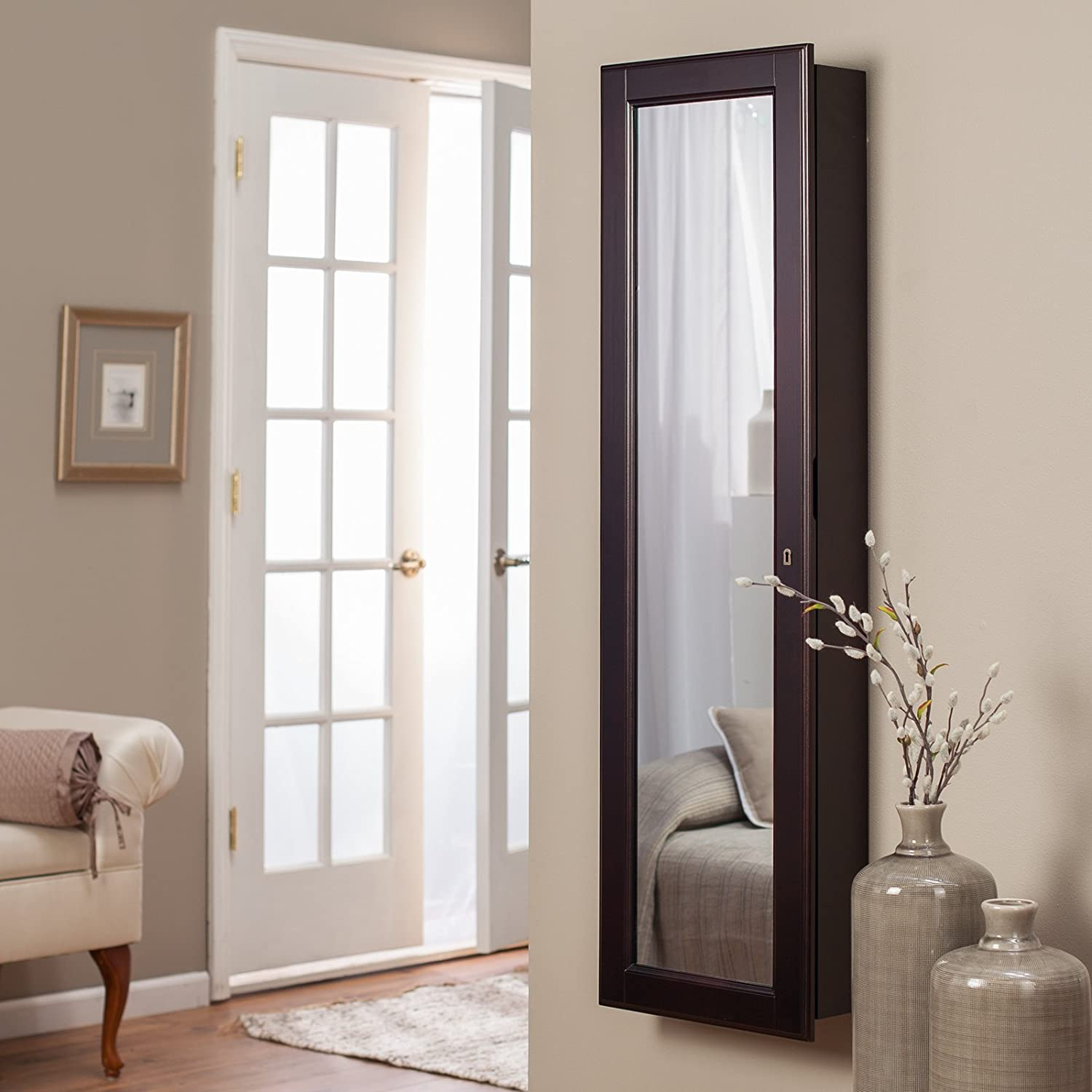 Ordinaire Amazon.com: Belham Living Lighted Wall Mount Locking Jewelry Armoire      14.5W X 50H In.: Home U0026 Kitchen