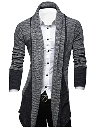 Tom's Ware Mens Classic Fashion Marled Open-Front Shawl Collar ...