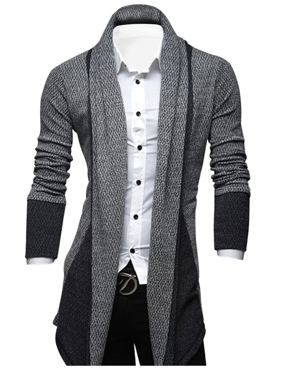 Tom's Ware Mens Classic Fashion Marled Open-Front Shawl Collar Cardigan TWGG1308-GRAY-US L