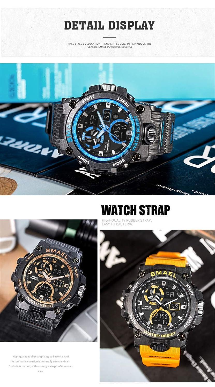 Supremc SMAEL Reloj de Cuarzo Nuevo Reloj Deportivo con Pantalla Doble Impermeable Multifunción Luminoso Calendario de Alarma Reloj Electrónico: Amazon.es: ...