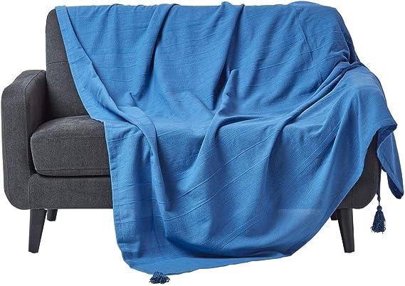 Collection Rajput 100/% Coton HOMESCAPES Jet/é de lit ou Jet/é de canap/é Jaune Mandarine 255x360cm