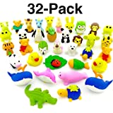 OHill Pack of 32 Pencil Erasers Zoo Animal Erasers Puzzle Erasers for Party Favors, Games Prizes, Carnivals and School Supplies