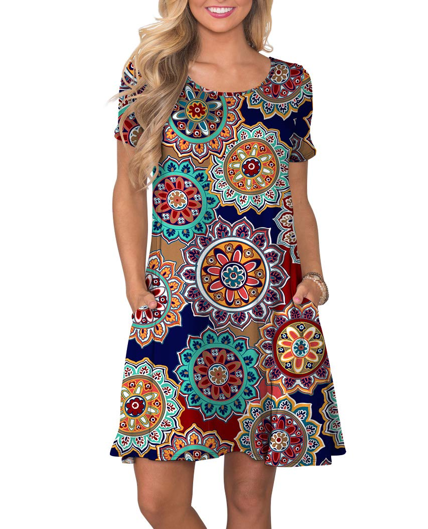 KORSIS Women's Summer Floral Dresses Short Sleeve Tunic T Shirt Swing Dresses Round Flower Navy Blue L