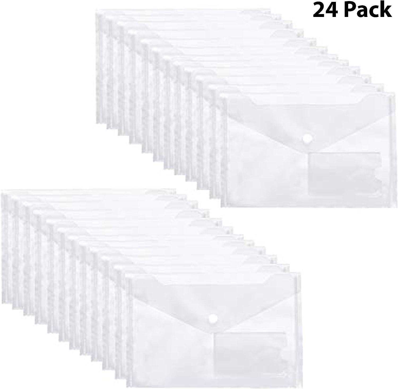 Carpetas Plastico (Pack de 24) - A5, Color Transparente Claro, Carpetas Transparentes para Documentos, Certificados, Recibos y Comprobantes