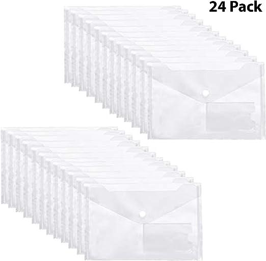 Carpetas Plastico (Pack de 24) - A5, Color Transparente Claro, Carpetas Transparentes para Documentos, Certificados, Recibos y Comprobantes: Amazon.es: Oficina y papelería