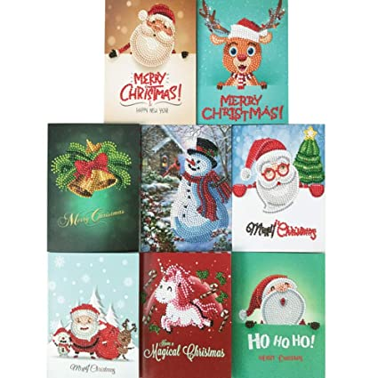 christmas cards 5d diy diamond painting round drill greeting cards 8 pack creative