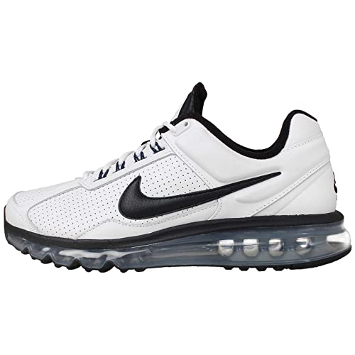 watch bdfe6 9ce27 Nike Men s Air Max 2013 White, Black, Hyper Cobalt and Metallic Silver  Leather Running