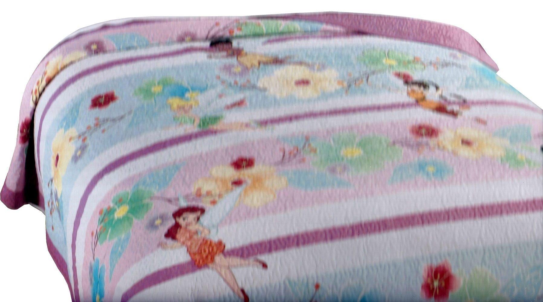 Disney Fairies Stripes Full Queen Quilt