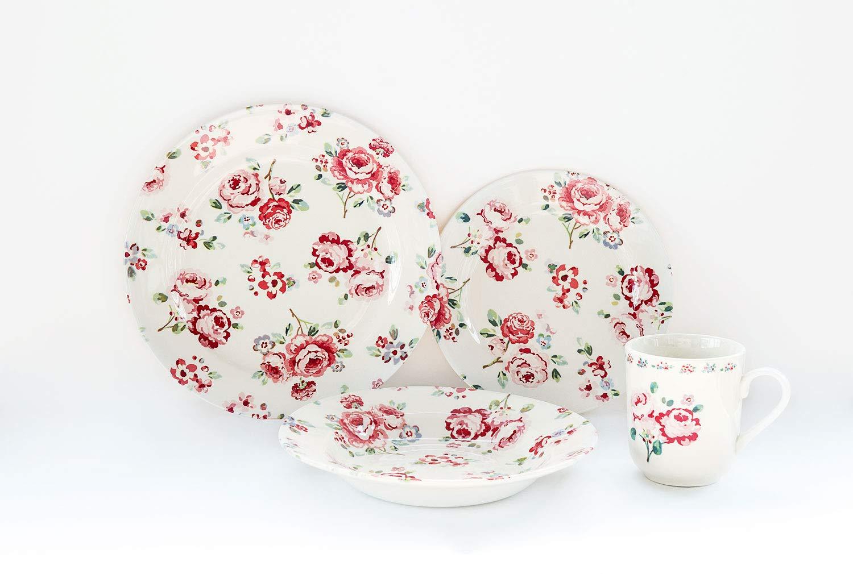 Tudor 16-Piece Porcelain Dinnerware Set, Service for 4 - ASTER PINK,Overstock OFFER;See 10 DESIGNS Inside! Tudor Porcelain Limited
