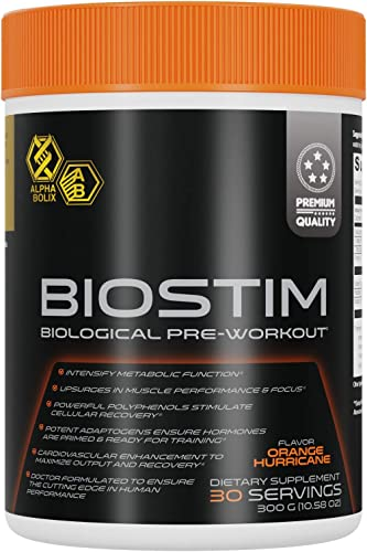 BIOSTIM Biological Pre-Workout Powder for Men and Women Performance Enhancing Adaptogen Supplement Physician Formulated with DMG, Green Coffee Extract, White Panax Ginseng and Taurine 300g