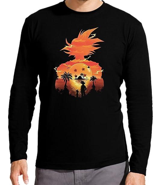 Camiseta Manga Larga de Hombre Dragon Ball Son Goku Anime Vegeta Piccolo Akira Toriyama S