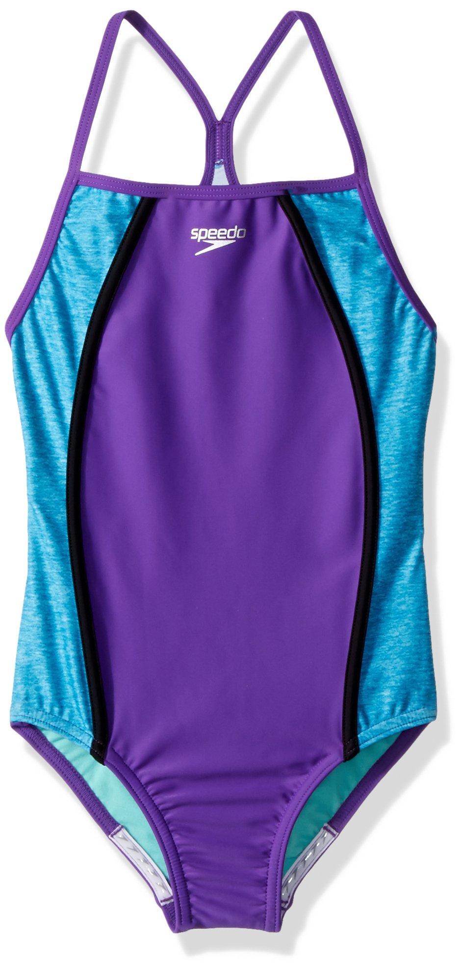 4c0a59f22cb20 Galleon - Speedo Girls Heather Thin Strap, Speedo Purple, Size 8