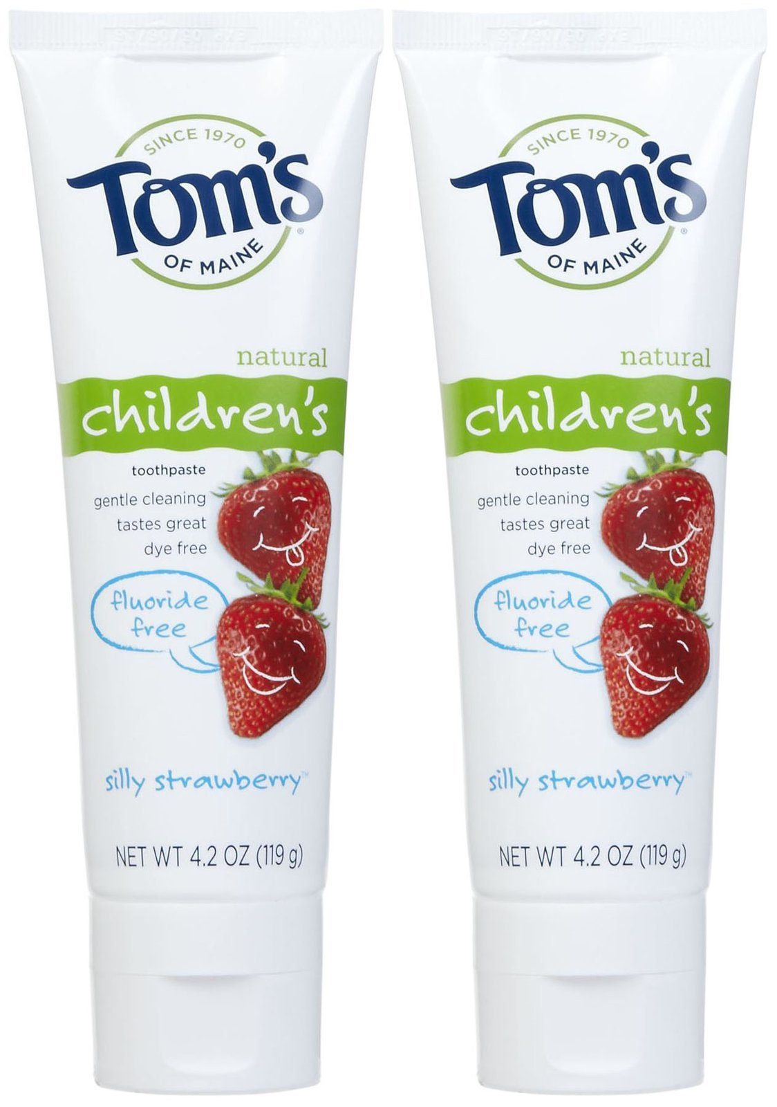 Tom's of Maine Fluoride Free Children's Toothpaste, Silly Strawberry - 4.2 oz - 2 pk