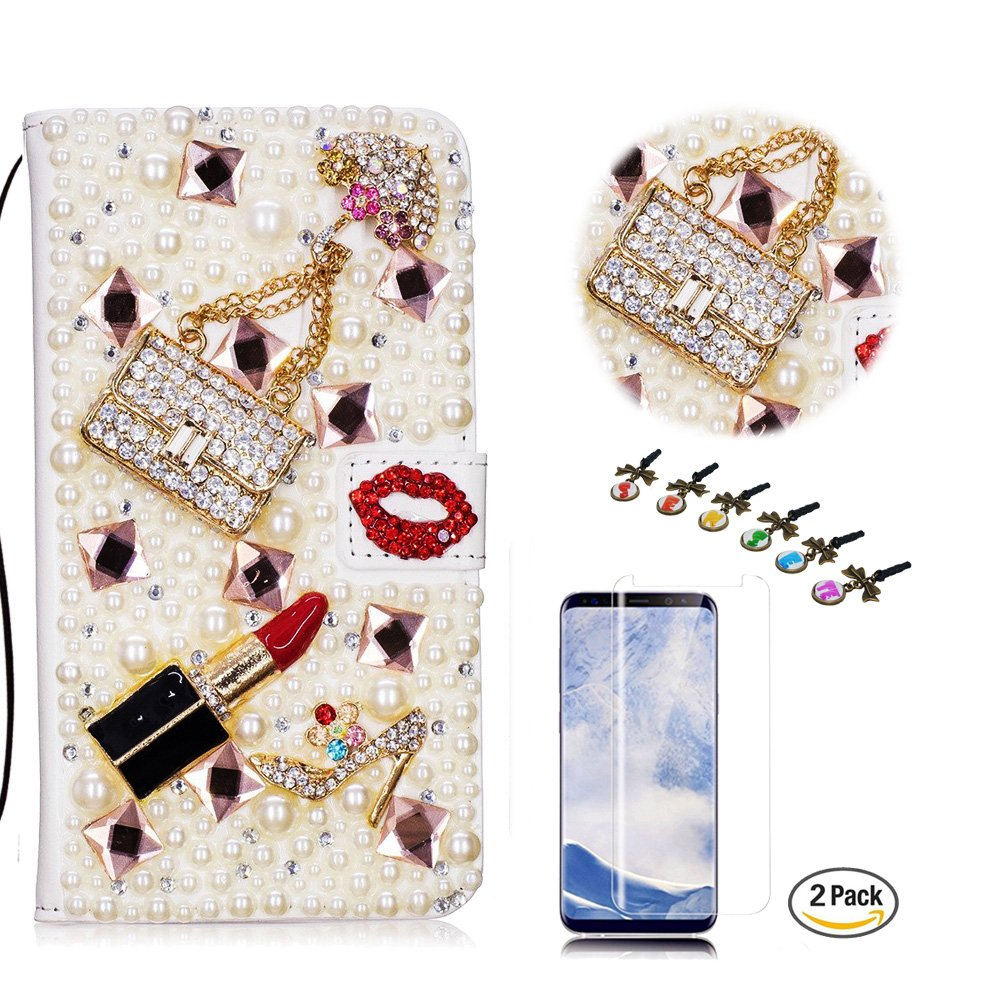 STENES LG V35 ThinQ Case - Stylish - 3D Handmade Bling Girls Bags Lipstick High Heel Wallet Credit Card Slots Fold Media Stand Leather Cover with Screen Protector for LG V35 ThinQ - Red
