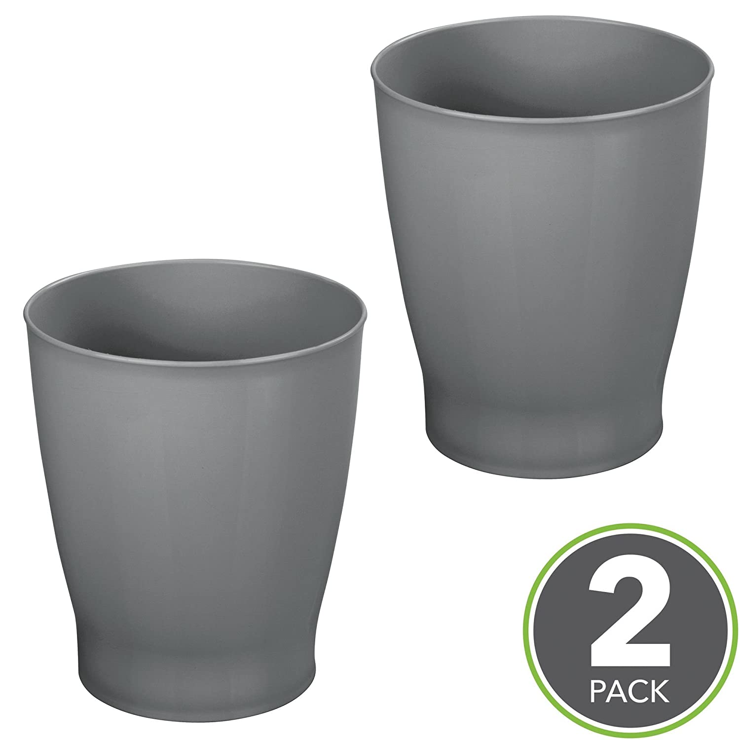 Kitchens Powder Rooms Charcoal Gray MetroDecor 8682MDBA Home Offices mDesign Slim Round Plastic Small Trash Can Wastebasket Garbage Container Bin for Bathrooms Kids Rooms 2 Pack