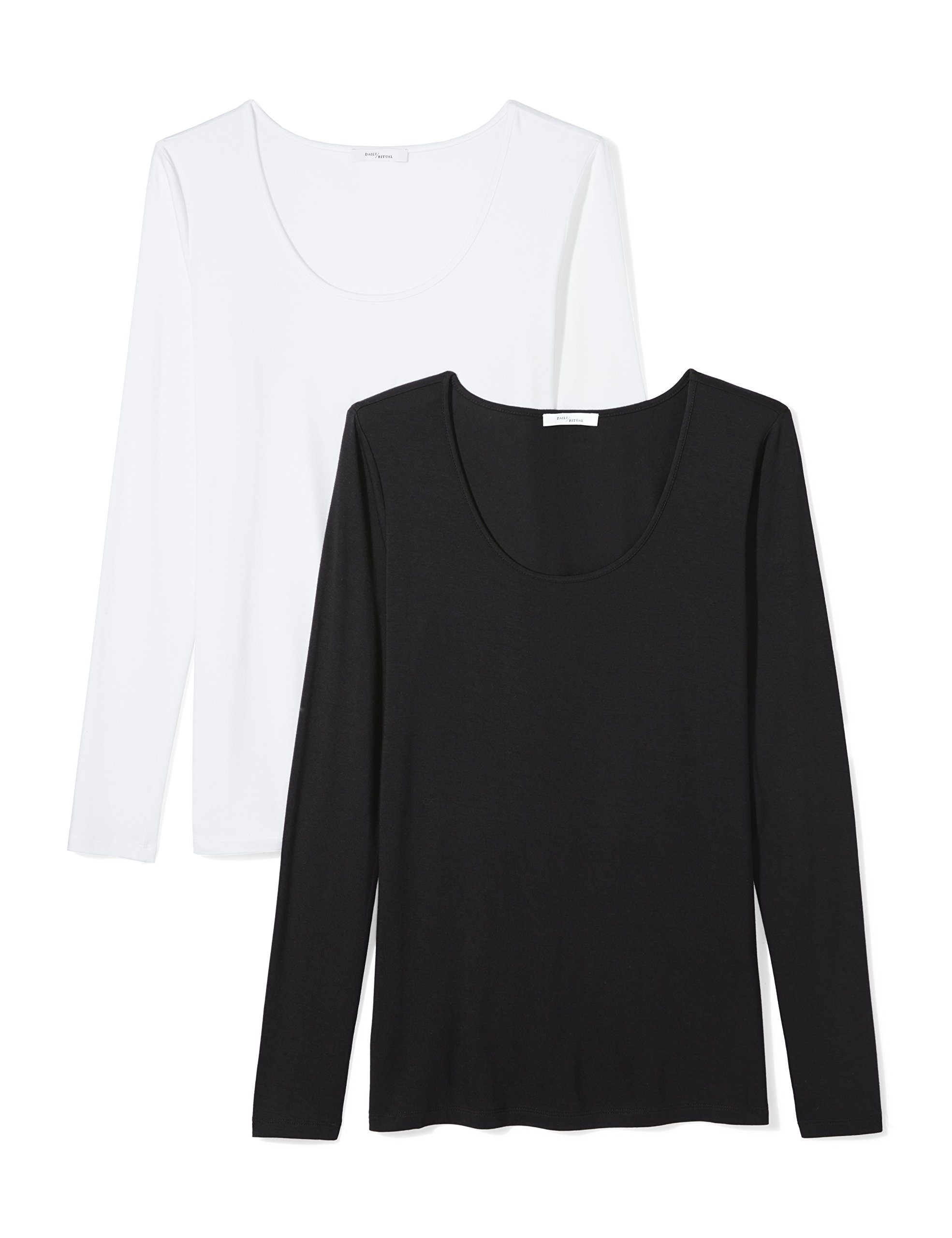 Daily Ritual Women's Jersey Long-Sleeve Scoop Neck T-Shirt, Black/White, Medium